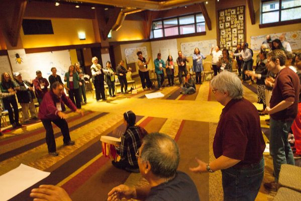 First People from around the world meeting at Girdwood Alaska to discuss alternatives for those Indigenous people who live along the coast of oceans and seas displaced by climate changes.